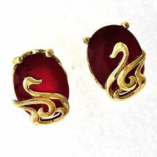 Gorgeous 18K Yellow Gold Filled Purple CZ & Red Ruby Womens Swan Stud Earrings