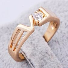 Fashion 18K Yellow Gold Filled crystal Crystal Womens Ring,Size 5,6,7,8