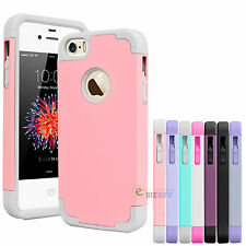 For Apple iPhone SE 5 5S Hybrid Rugged Rubber Armor Best Impact Case Cover