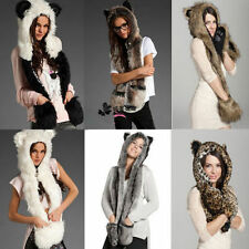 Fur Wolf Animal Hood Plush Full Hoodie Scarf Pocket Spirit 3 in 1 Warm Hat