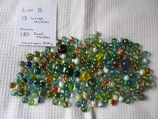 LOT B - Mixed Collection of at least 180 Small & 13 Large Glass Marbles. 1.2kg