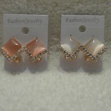 Square Pink White Bead Clear Rhinestone Gold Lever Back Pierced Post Earring