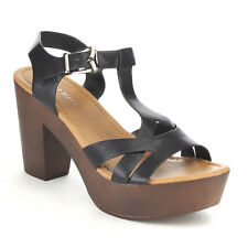 Top Moda PONY-9-TG Women's Platform Wedge Heel Peep Toe Ankle Strap Sandals