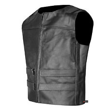 Mens Bulletproof Style Vest Tactical Street Chopper Biker Cowhide Leather