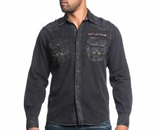 MENS AFFLICTION BLACK PREMIUM –ABANDON CITY- BLACK LONG SLEEVE WOVEN SHIRT