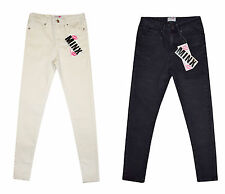 Minx Girls Plain Skinny Jeans Full Length Stretchy Buttons Jeans 7-13 Years