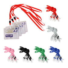 10Pcs Lanyard ID Card Cases Badge Neck Strap Holder String With Plastic Clasp