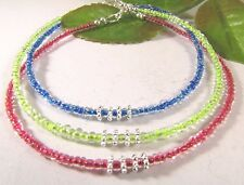 Three Colors to Choose From Seed Bead Anklets with Lobster Clasp