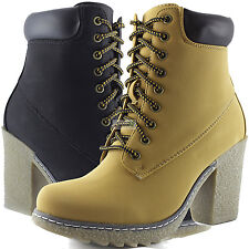 Women Nubuck Construction Lace Up Chunky Low Heel Ankle Booties Boots Cute Shoes