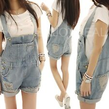 Cool Lady Casual Washed Denim Hole Jeans Jumpsuit Overall Short Gallus Pants