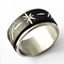 Fashion Mens Black silver plated Carved Flower Spinner love Ring Size 7-12