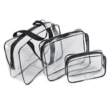 3PCS Clear Zippered Cosmetic Pouch Transparent Travel Bag