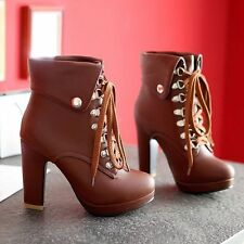 Women Winter High Heel Lace-Up Shoes Stiletto Plush Lined Ankle Leather Boots