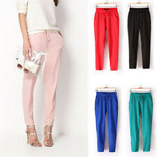 Harem Pants Womens Chiffon Drawstring Waist Casual Trousers Candy Color 8WS