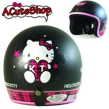 Hello Kitty Motorcycle 3/4 Helmet RETRO 76 Checkered Black Sanrio