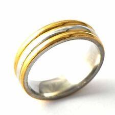 Mens Promise Titanium Gold Plating Band Ring Size 8-12 Free Shipping