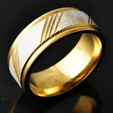 Trendy Mens 14K gold filled Silver Plated Carving Band Ring Size 8-11