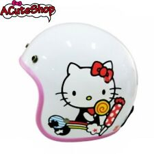 Hello Kitty Motorcycle 3/4 Helmet RETRO Candy White Sanrio