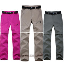 Womens Quick Dry Zip Off Leg Pants Shorts Outdoor Hiking Climbing Cargo Trousers