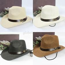 Men Women Straw Summer Beach Hat Wide Brim Sun Hat Fedora Cowboy Jazz Visor Cap