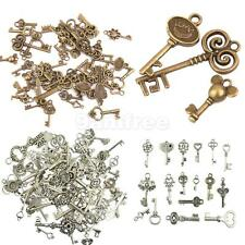 50pcs Vintage Alloy Assorted Skeleton Key Pendants Charms