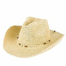 Men's Ladies Plain Woven Cowboy Hat With Beaded Rope Band - Natural Straw