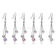 1 Pair Elegant Fashion Crystal Rhinestone Dangle Ear Stud Earrings Jewelry