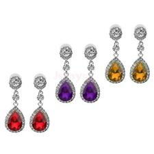 Fashion Women Girl Diamante Teardrop Dangle Crystal Rhinestone Earring Ear Studs