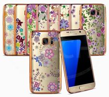 Samsung Galaxy S7 Edge - Silicone Gel Pattern Case with Chrome Effect Bumper