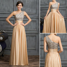 One Shoulder Chiffon Long Wedding Dress Party Gown Bridesmaid Evening Prom Dress