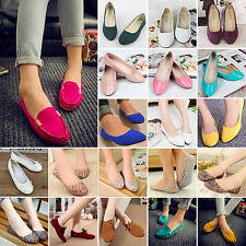 Women's Suede Boat Shoes Casual Slip On Flats Shoes Loafers Ballet Single Shoes