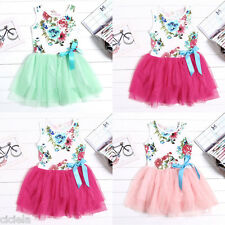 Cute Baby Girls Clothes Kids Toddlers Tulle Bow Floral Princess Tutu Dress 1-5Y