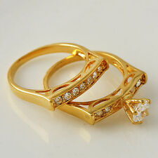 Brilliant Ring Set 18K Yellow Gold Filled Clear Cubic Zircon Ring Size 7 8 9