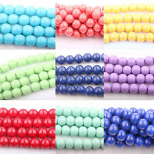 Lots 20/50Pcs Czech Opaque Coated Glass Pearl Round Jewelry Finding Bead DIY 8mm