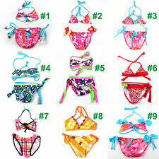 2PCS Girls Kids Halter Swimsuit Floral Tankini Set Bathing Suit Baby Swimwear