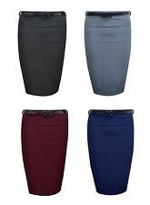 New Ladies/Women Ribbed Belted Stretch Pencil Skirt Long Bodycon For Office 8-14