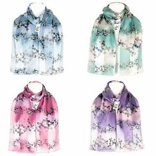 Ladies Women's Long Wrap Chiffon Style Shawl Scarf Butterflies (Stripe) Scarves