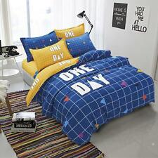 Single Queen Size Bed Set Pillowcase Quilt Duvet Cover Blue One Day L