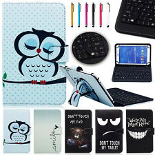 """Micro USB Keyboard Leather Case Cover For  7"""" 8"""" 10"""" Vodafone Smart Tablet + Pen"""