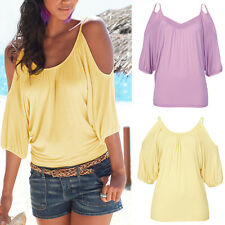 Womens Summer Batwing Short Sleeve T-Shirt Tops Fashion Casual Baggy Blouse LD