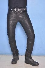 Quilted skinTight biker leather motorcycle pant jeans punk rock custom made GTC