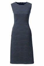 Lands End Women's Sleeveless Ponte Sheath Dress Classic Navy Stripe New