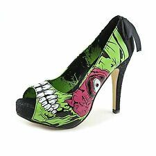 Iron Fist ZOMBIE STOMPER PLATFORMS Green Peep Toe Womens