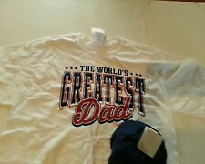 Mens Greatest Dad White T-shirt and Navy Blue Ball Cap Hat Combo Size M