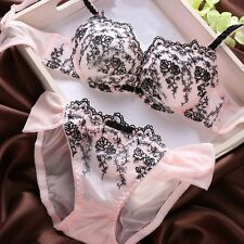 Women Sexy Underwear Lace Floral Embroidery Push-Up Plunge Padded Bra Set H57