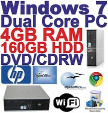 Windows 7 HP Dual Core 2x3.00GHz Desktop PC Computer - 4GB RAM - 160GB HDD Wi-Fi