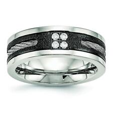 Chisel Stainless Steel Polished Laser Cut Blk IP Wire Inlay CZ Band Ring SR550