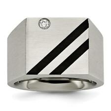 Chisel Stainless Steel Brushed Black IP-plated CZ Ring SR398