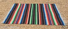 "Mexican Blanket Sarape Multi-Color Black #4 ""84x60"" Made in Mexico"