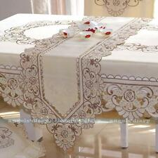 Flower Lace Embroidery Cutwork Tassel Home Wedding Table Runner 4 Sizes #10